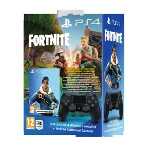 Playstation 4 Ps4 Dualshock 4 Peliohjain Musta+Fortnite Voucher