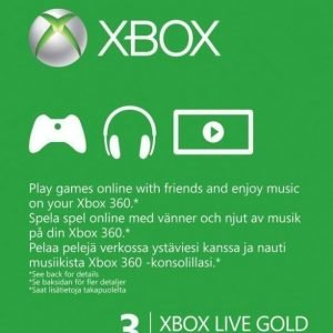 Xbox Live Gold Card (3 mth) (X360/Xbox One)